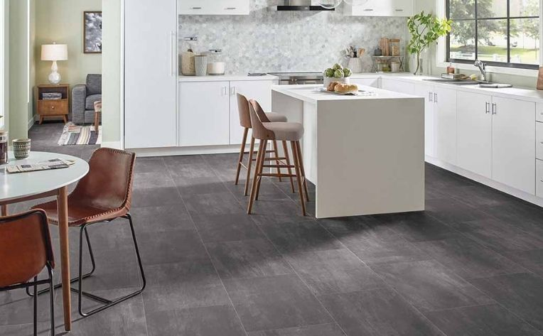 Gray Concrete Look Luxury Vinyl Floor Kitchen
