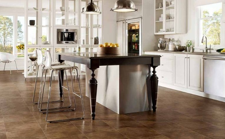 Medium Brown Tile Look Luxury Vinyl Flooring Kitchen