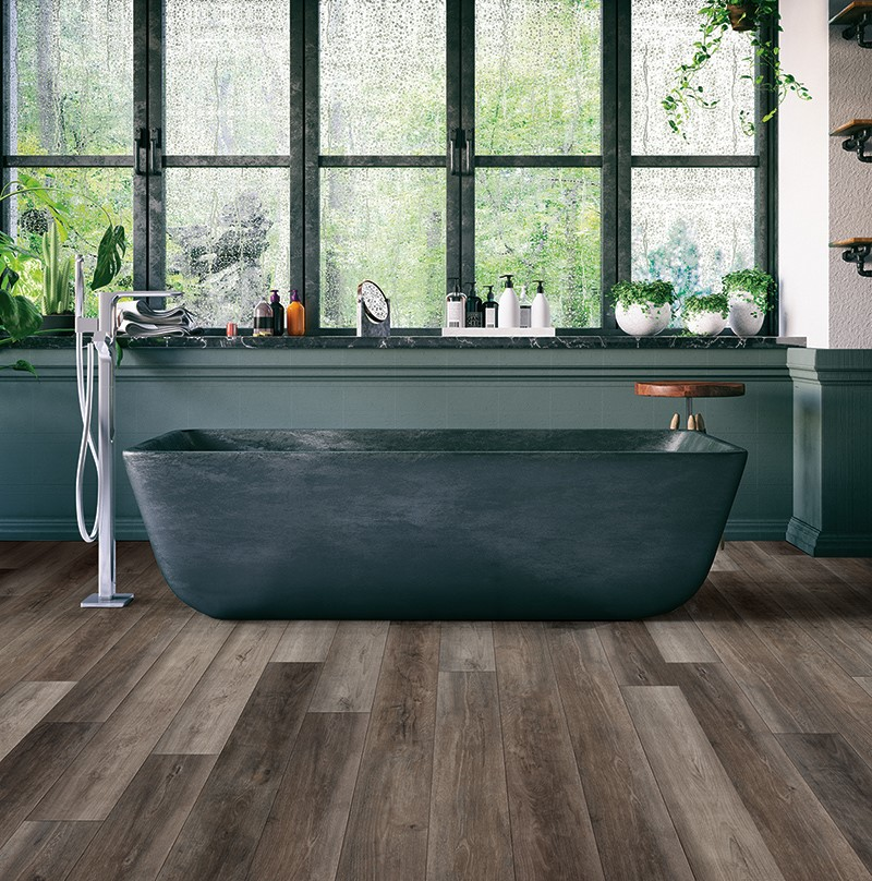 modern bathroom with slate colored wood floors