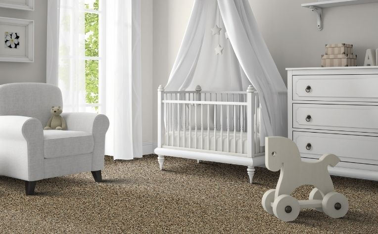 white babyroom furniture brown carpet flooring